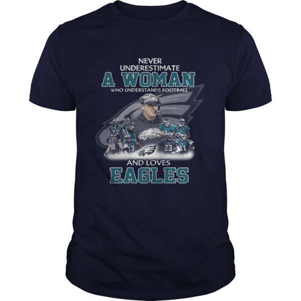 Never Underestimate a Woman Who Understands Football And Loves Eagles Guys Tee