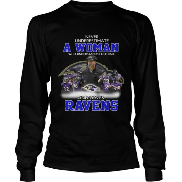 Never Underestimate a Woman Who Understands Football And Loves Ravens Longsleeve Tee