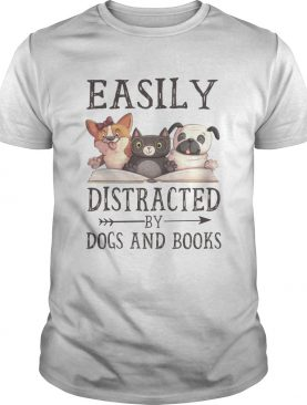 Easily Distracted By Dog And Books T-Shirt