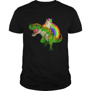 Rainbow Unicorn Riding TRex unisex