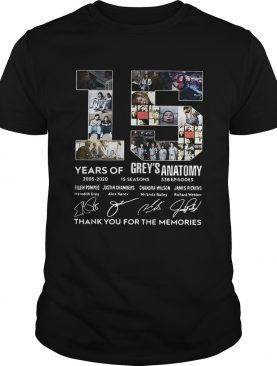 15 Years of Greys Anatomy thank you for the memories signature shirts