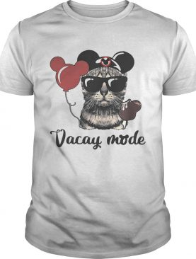 Cat with Mickey Mouse ears vacay mode shirts