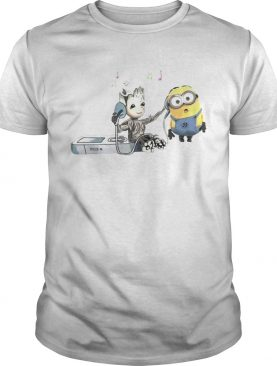 Groot And Minion Listening To Music shirts