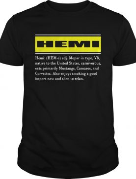 Hemi Mopar In Type V8 Native To The United States Carnivorous Eats Primarily Mustangs Camaros And Corvettes shirts