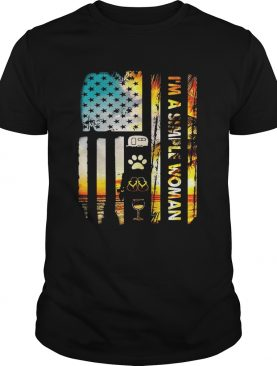 American flag I'm a simple woman I love camping dog flip flop and wine shirts