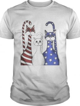 Cats red white and blue American flag shirts