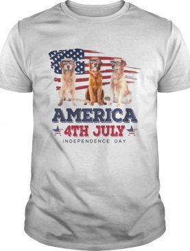 Cool Golden Retriever America 4th July Independence Day T-shirts