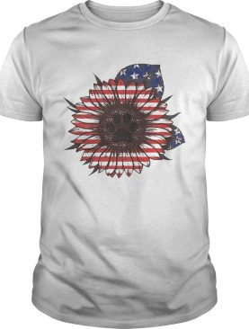 Paw dog sunflower flag America shirts
