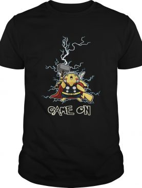 Pikachu being the God of Thunder Thor game on shirts