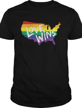 America Flag map love wins LGBT shirt