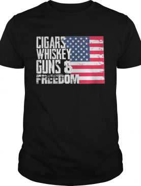 American flag Cigars whisky guns and freedom shirts