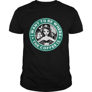Ariel and Flounder I wantto be where the coffee is Starbucks unisex