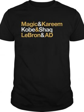Magic and Kareem Kobe and Shaq LeBron and AD Los Angeles shirt