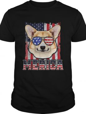 Pembroke Welsh Corgi Merica American Flag 4th Of July shirt