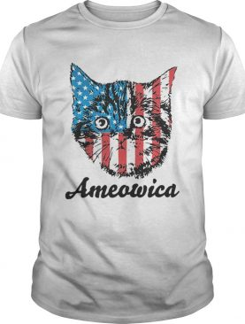 Top Ameowica Cat 4th of July Independence Day American flag shirt