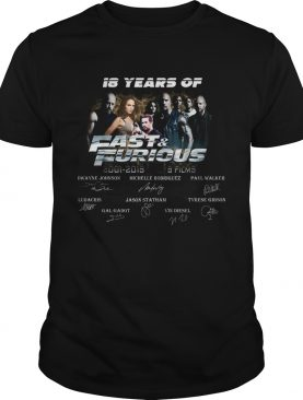 18 years of fast and furious thank you for the memories signatures 20012019 9 films shirt