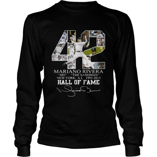 Mariano Rivera New York Yankees Hall of Fame signatures longsleeve tee