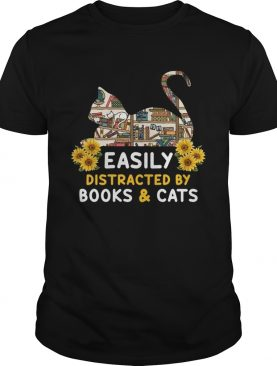 Easily Distracted By BooksCats Cat Lover TShirt