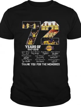 Top 72 years of Los Angeles Lakers 19472019 signatures shirt