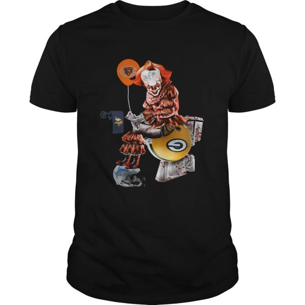 Pennywise Chicago Bears sitting toilet Green Bay Packers unisex