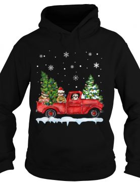 Sloth With Red Truck Christmas Holiday Gift TShirt