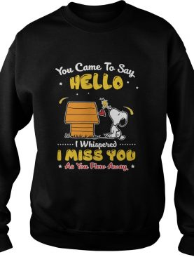 You came to say hello I miss you as you Flew away Snoopy Woodstock shirt