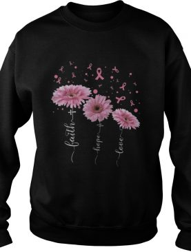 Eletees Faith Hope Love Pink Flower Breast Cancer Shirt