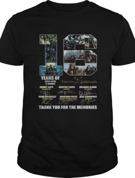 16 years of 2003 2019 5 movies Pirates of the Caribbean signature shirt