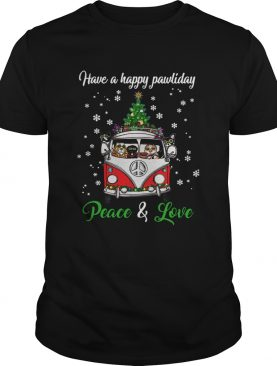 Have a happy pawlidays peace and love Dogs Christmas shirt