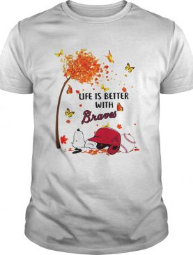 Life is better with Braves Snoopy sleeping under autumn tree shirt