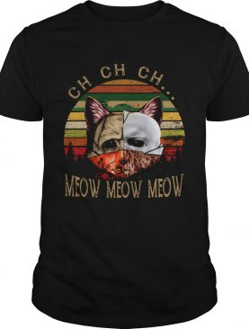 Cat Face of Jason Michael Myers Freddy Krueger Leatherface ch ch ch meow meow meow sunset shirt