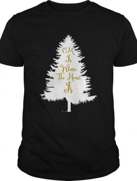 OM Is Where The Heart Is Christmas Tree Yoga T-Shirt