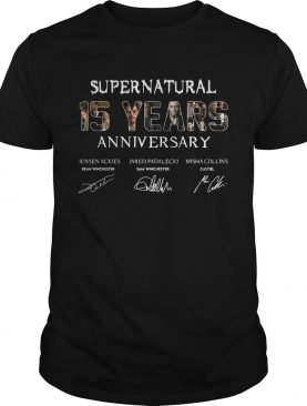 Supernatural 15 Years anniversary Jensen Ackles Jared Padalecki Misha Collins signature shirt