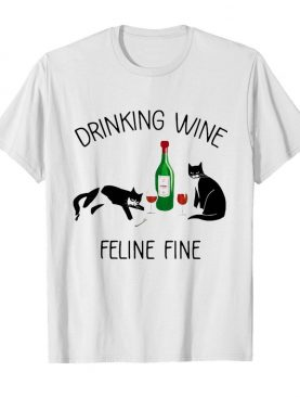 Cat drinking wine feline fine shirt