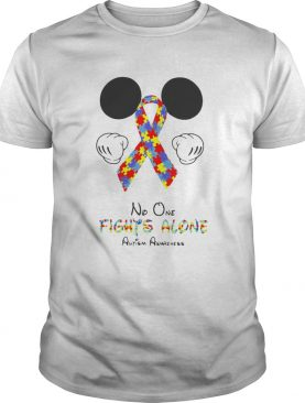 Mickey Mouse No One Fights Alone Autism Awareness shirt