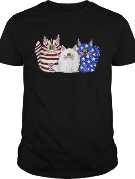 Three Cats Red White And Blue Cute American Flag shirt