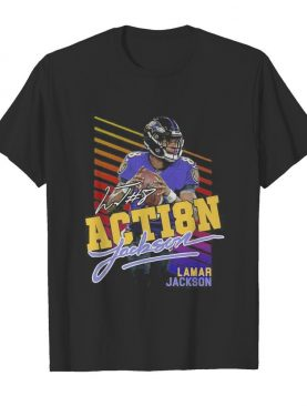8 action Lamar Jackson Baltimore Ravens football signature shirt
