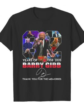 82 years of 1958 2020 barry gibb thank you for the memories signature shirt