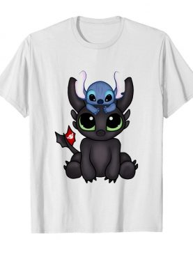 Baby toothless dragon and stitch flag shirt