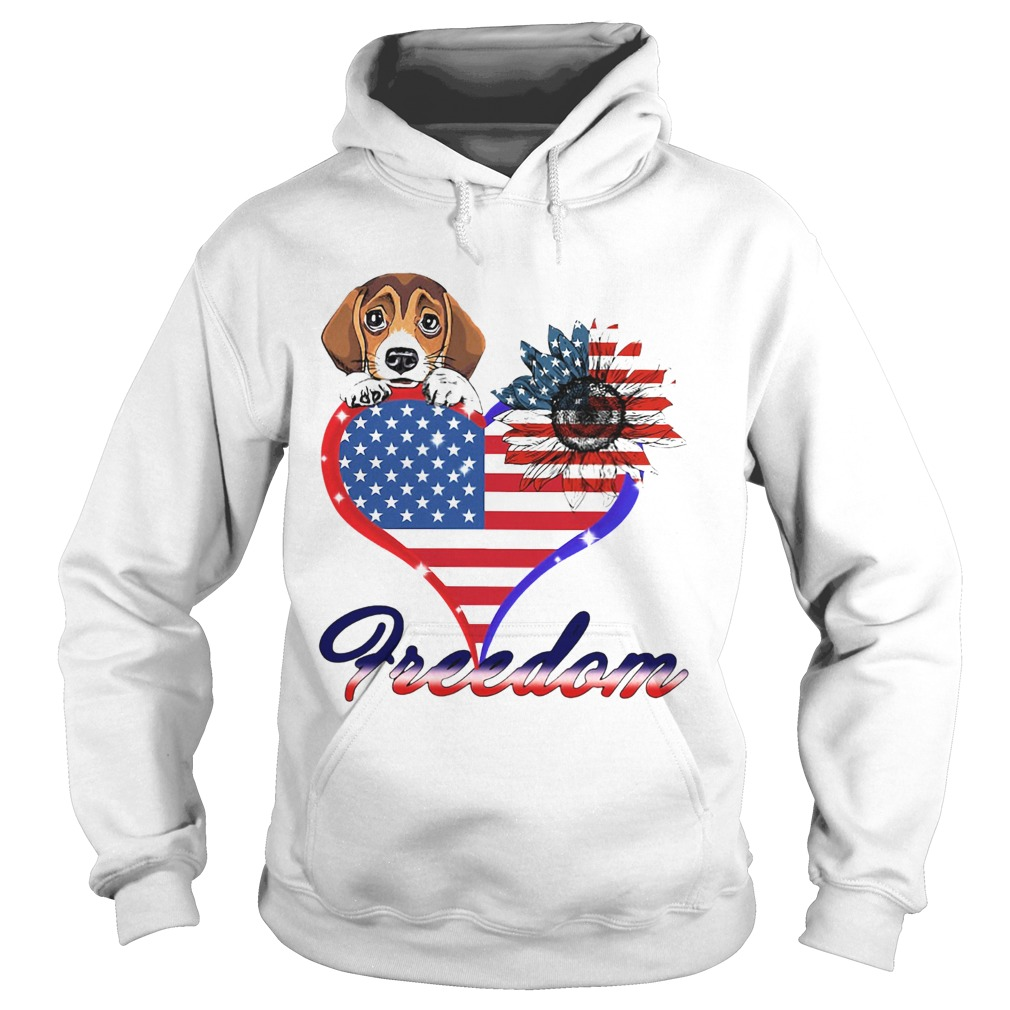 Beagle Dog Sunflower Heart American Flag Freedom  Hoodie