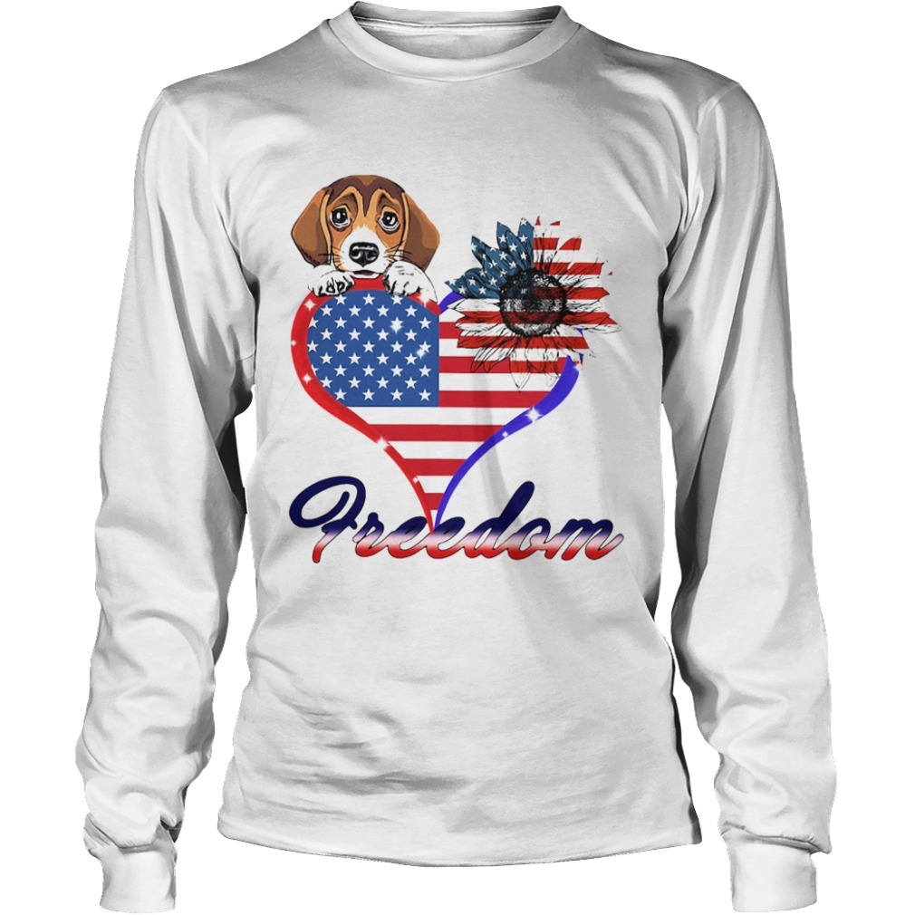 Beagle Dog Sunflower Heart American Flag Freedom  Long Sleeve