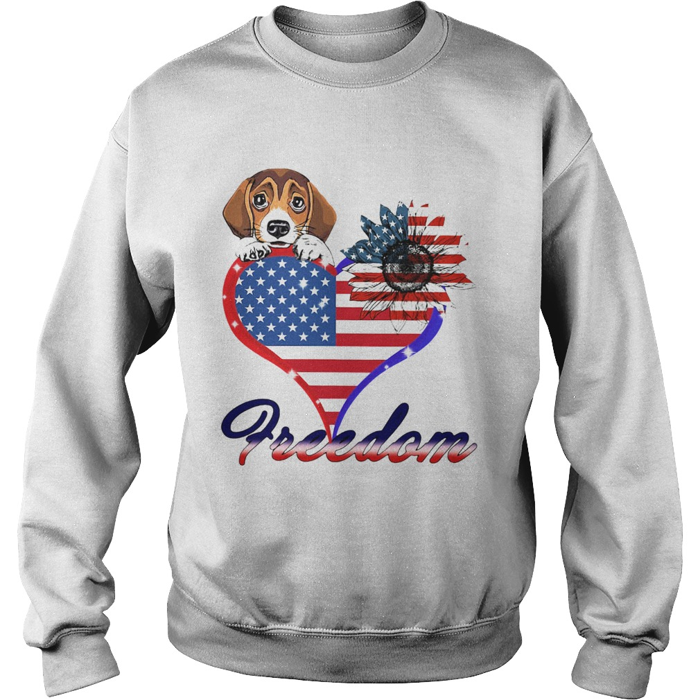 Beagle Dog Sunflower Heart American Flag Freedom  Sweatshirt