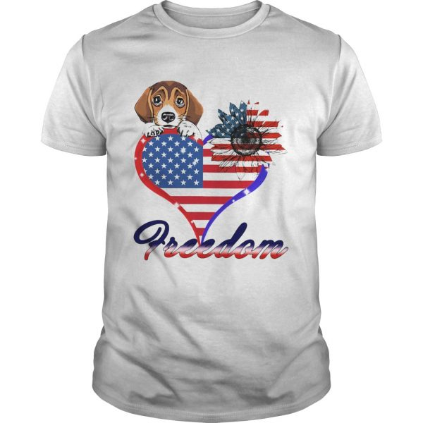 Beagle Dog Sunflower Heart American Flag Freedom shirt