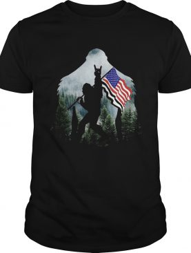 Bigfoot Into The Forest American Flag shirt