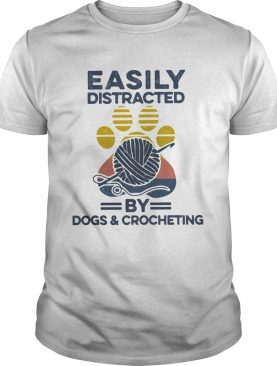 Easily Distracted By Dogs And Crocheting Footprint Vintage Retro shirt