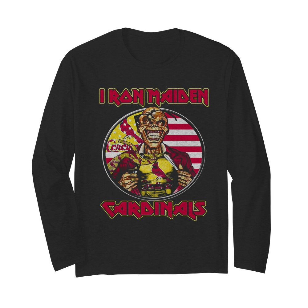 Iron maiden st. louis cardinals american flag independence day  Long Sleeved T-shirt