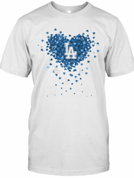 Love Los Angeles Dodgers Baseball Logo Hearts T-Shirt