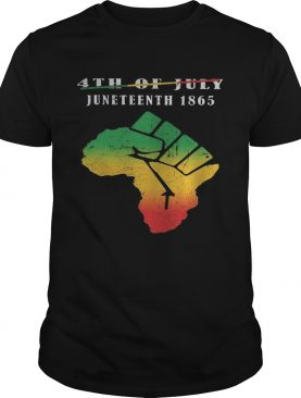 Not 4th of july juneteenth 1865 americas map fist shirt