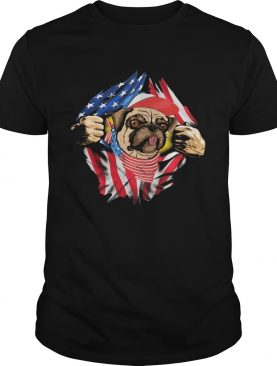 PUG WITH AMERICA FLAG 4TH OF JULY INDEPENDENCE DAY shirt