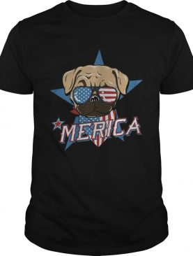 Pug merica american flag independence day shirt